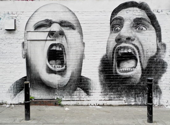 Shouting in Brick Lane, London