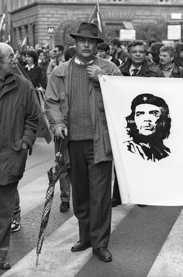 Peace demonstrator with Che flag, Rome