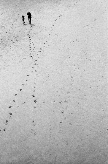 Footsteps on the beach, Blackpool (UK)