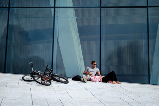 Relaxing on the Opera House roof, Oslo (Norway)