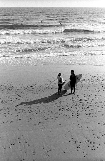 Surfers in Bournemouth (UK)
