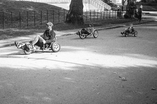 Pedalling in Battersea Park, London